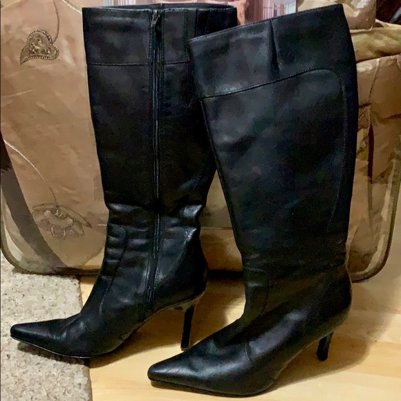 "Shoes - TALL BLACK ZIP-UP 3.5"" HEELED BOOTS-7"